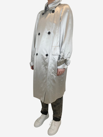 Silver satin trench coat - size UK 12