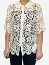 Load image into Gallery viewer, Cream lace peter pan collar short sleeve top - size XS