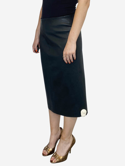Dark grey leather pencil skirt - size 10