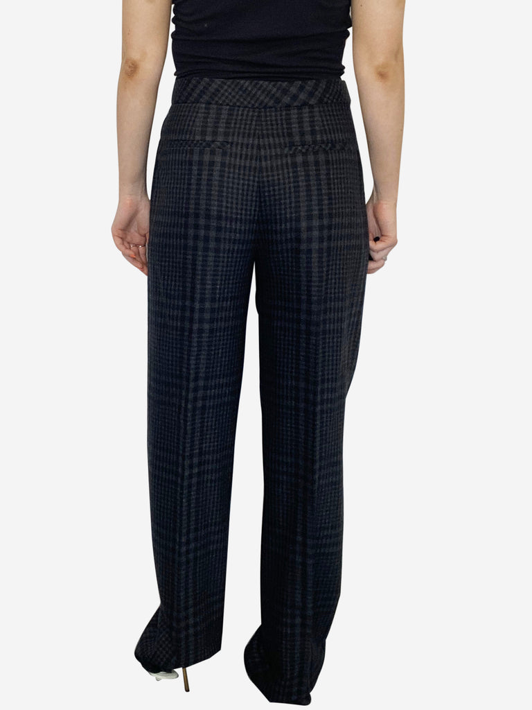 Grey and black wide leg check trousers - size 10