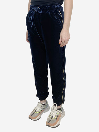 Blue and gold velvet joggers - size IT 42