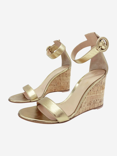 Portofino 85 gold leather cork wedges - size 4.5