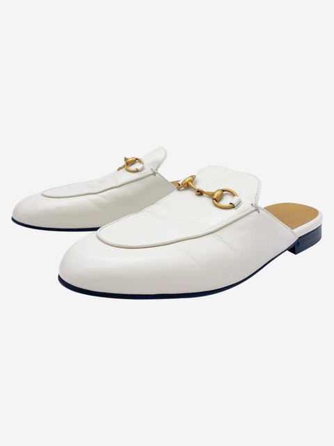 Princetown cream leather horsebit slide on loafers - size 4.5