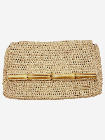 Wicker clutch with bamboo fastening