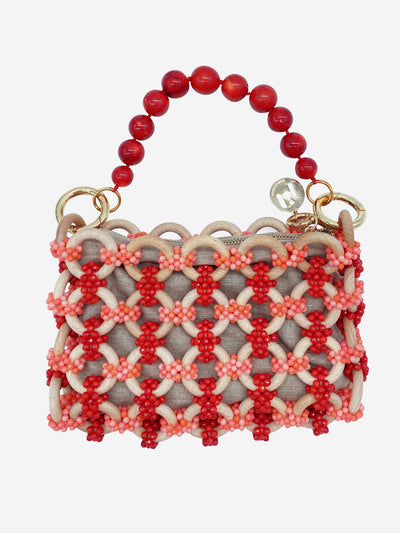Coral and red beaded top handle bag