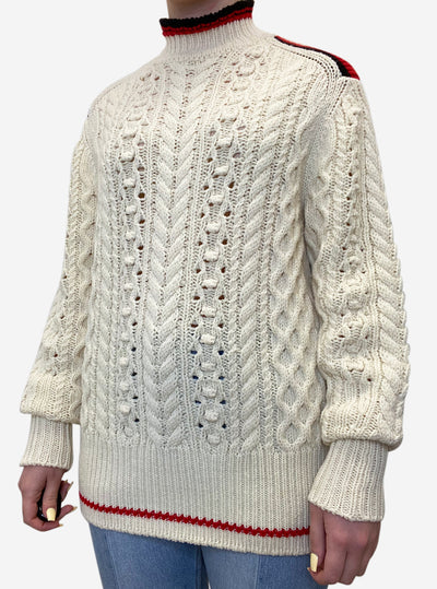 Cream long sleeve cable neck sweater with red detail - size UK 8