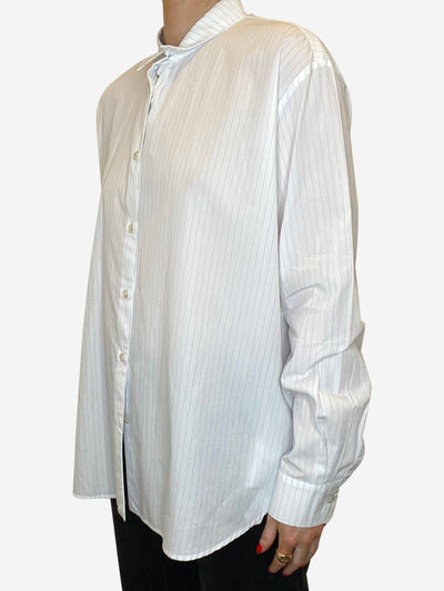 Blue & white long sleeve striped shirt - size UK 10