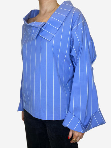Blue & white striped large collar blouse - size IT 42