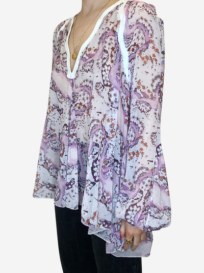 Lilac floral blouse with white trim - size IT 44