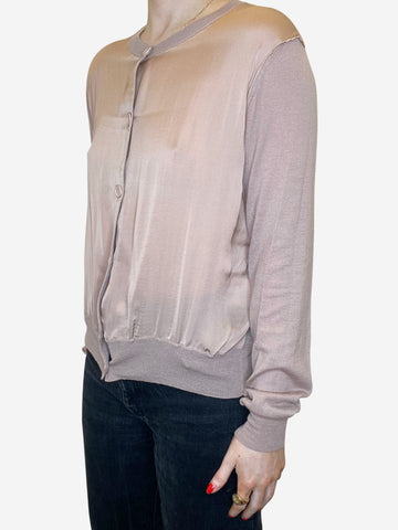 Nude fine knit silk panel cardigan - size IT 44