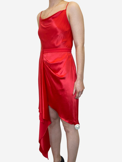Red silk short dress with gathering - size UK 8