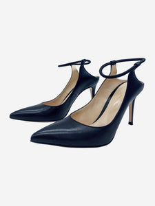 Black leather pointed elasticated ankle strap heels - size 38