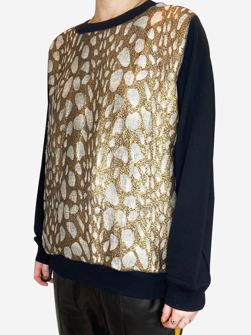 Black & Gold Dries Van Noten Sweaters, M