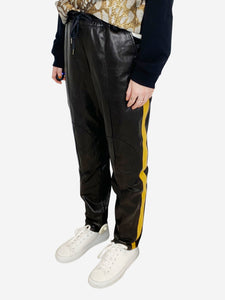 Black & mustard stripe drawstring leather trousers - size FR 38