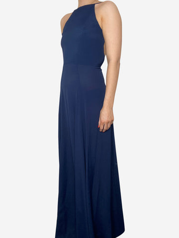 Navy blue halter-neck sleeveless maxi dress - size S