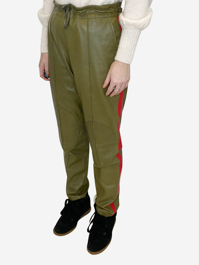 Khaki & Red Leather trousers - size 10