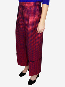 Red & purple polka dot wide leg culottes - size ES 38