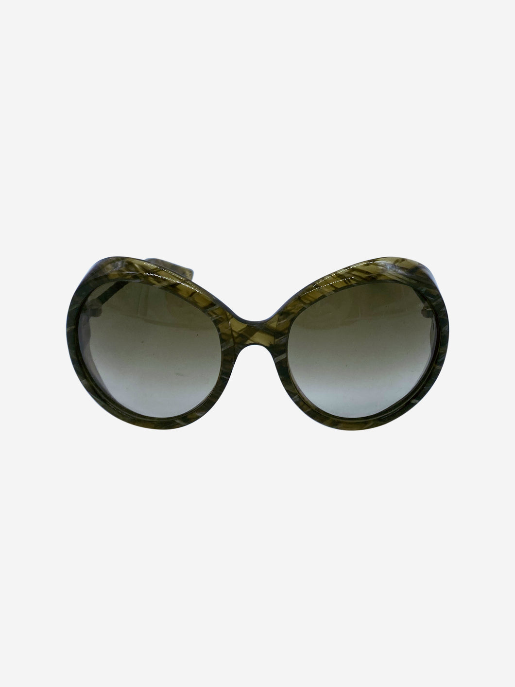 Khaki round sunglasses with woven leather arms