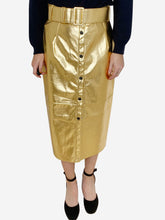 Load image into Gallery viewer, Gold faux leather belted midi skirt - size IT 44