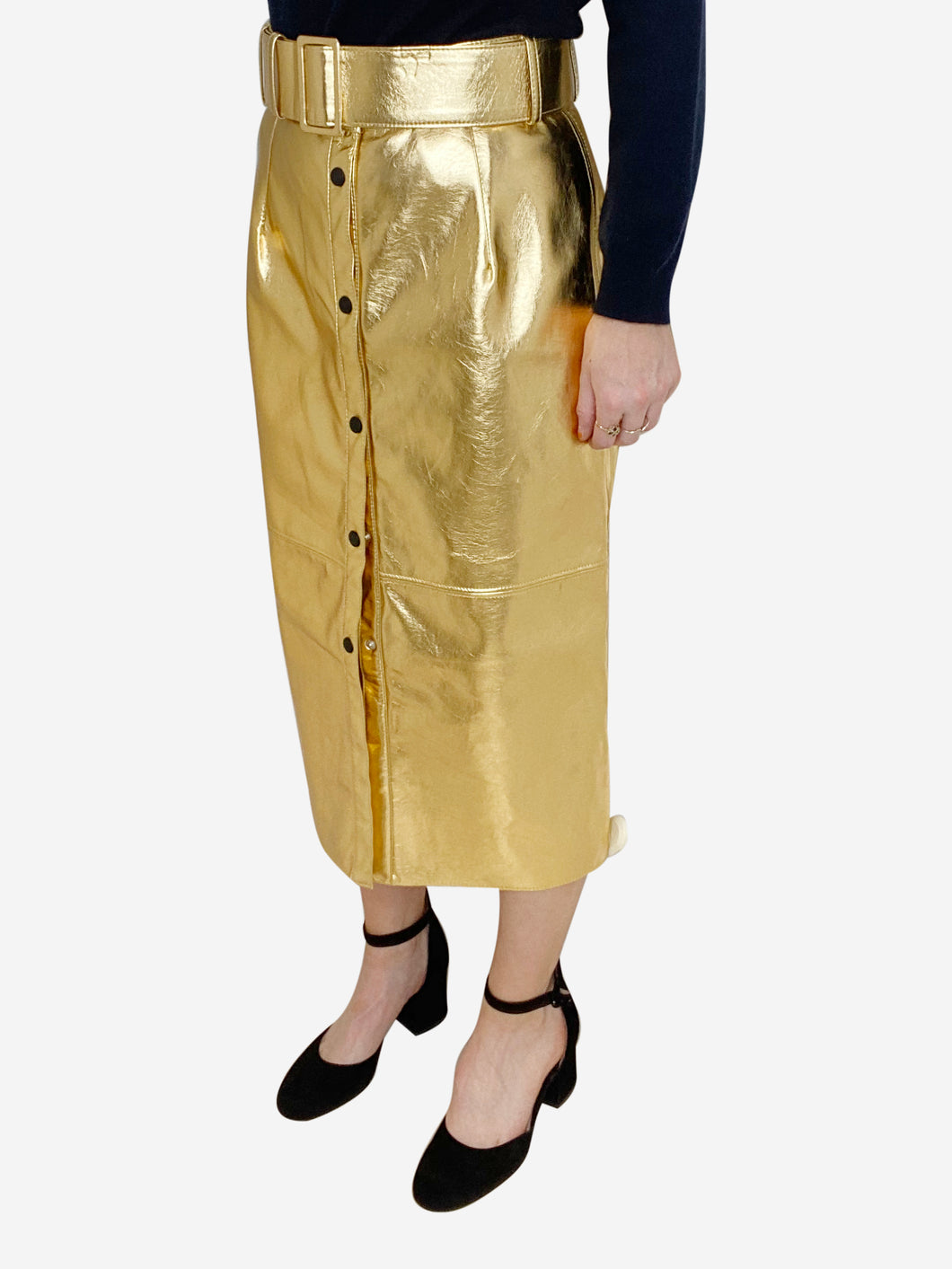 Gold faux leather belted midi skirt - size IT 44