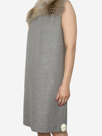 Grey fur trimmed shift dress - size IT 40