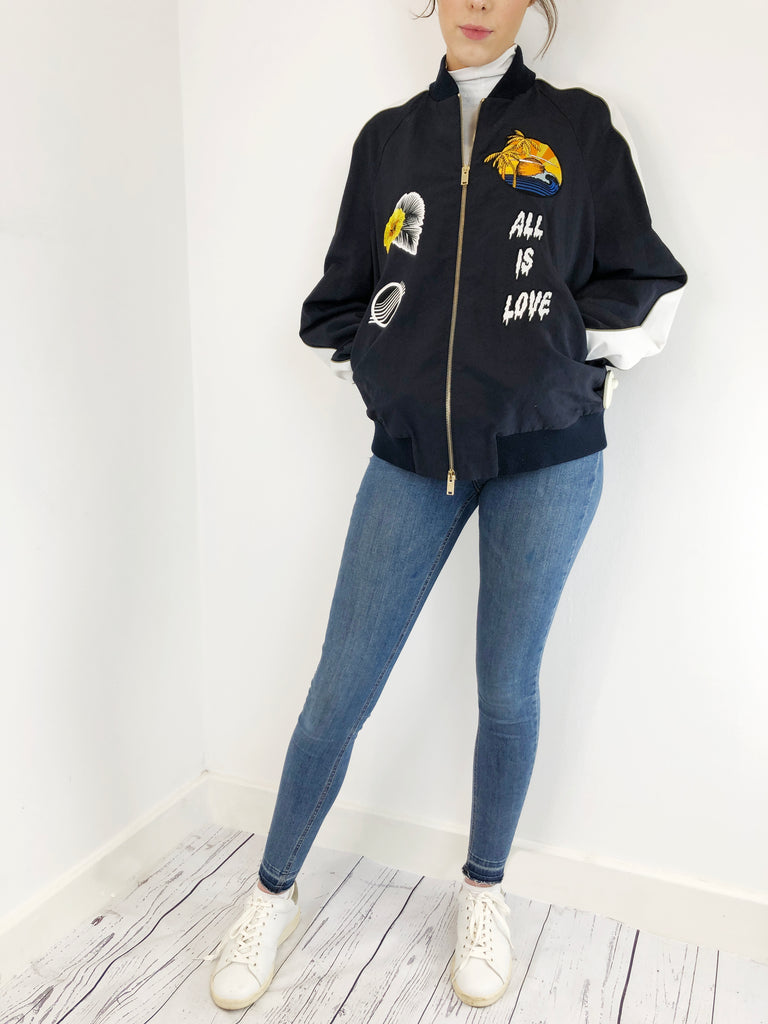 Stella McCartney Navy Embellished Bomber Size 14