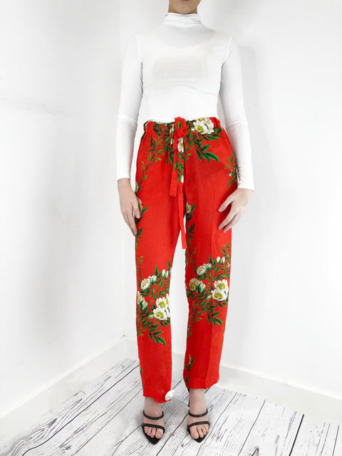Gucci Red Floral Drawstring Trousers Size M  RRP £1000