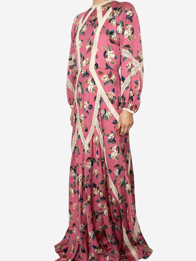 Pink & cream floral lace trimmed maxi dress - size UK 8