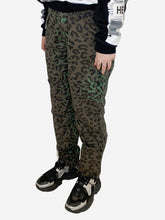 Load image into Gallery viewer, Khaki Leopard print green trousers  - size 10