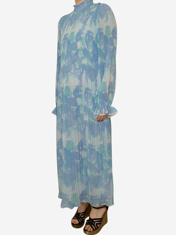 Blue floral printed georgette midi dress - size UK 8