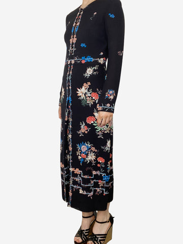 Black, electric blue and peach floral midi dress - size UK 8