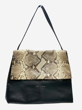 Load image into Gallery viewer, Black and snakeskin-effect flap shoulder bag