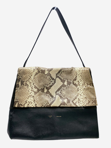 Black and snakeskin-effect flap shoulder bag