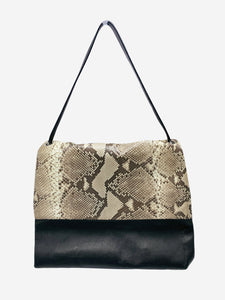 Celine Black and snakeskin-effect flap shoulder bag