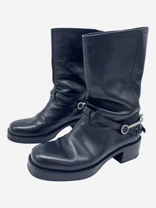 Diorider black short leather boots - size EU 38