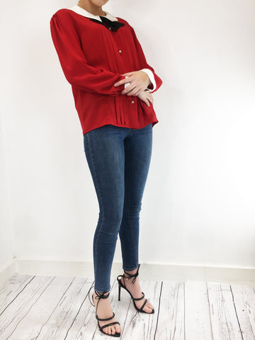 Gucci Red Blouse With Pearl Buttons Size UK 12 - RRP £900