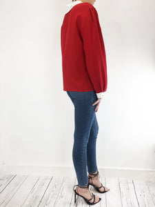 Gucci Gucci Red Blouse With Pearl Buttons Size UK 12 - RRP £900