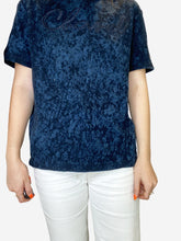 Load image into Gallery viewer, Blue short sleeve tie-dye logo embroidered t-shirt - size 10