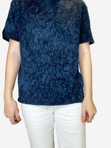 Blue short sleeve tie-dye logo embroidered t-shirt - size 10