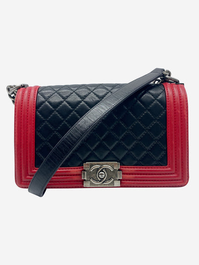 Medium Boy red & black quilted bag with gunmetal hardware