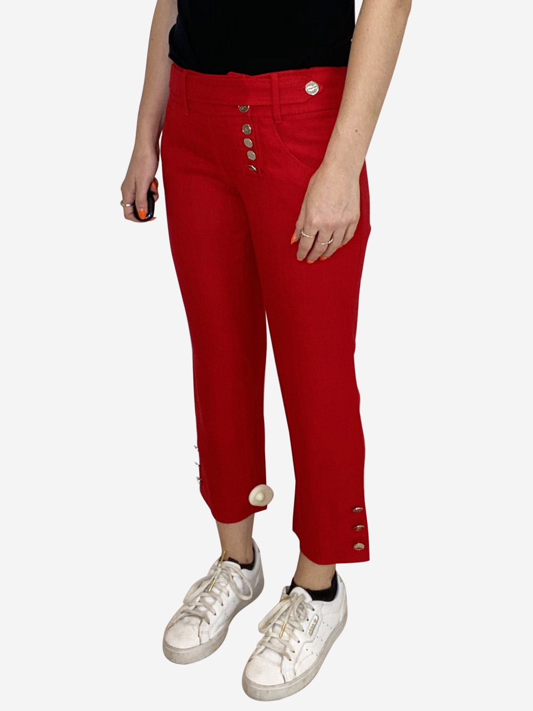 Red cropped tailored trousers with silver buttons - size IT 42