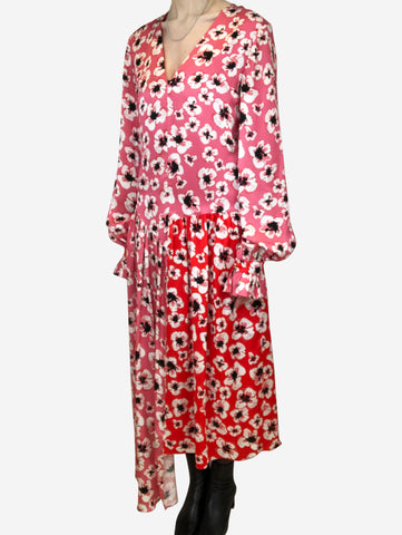 Pink & red floral print dress with dropped asymmetric waist - size UK 8