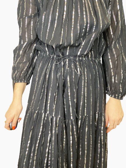 Savory black and silver metallic long sleeve midi dress - size FR 38