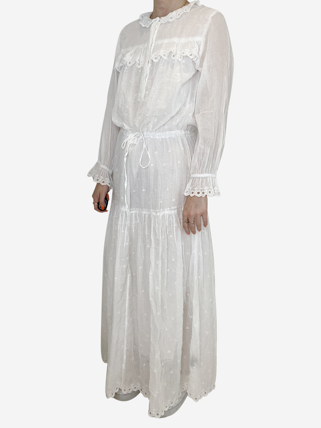 White cotton broderie anglais maxi dress - size XS