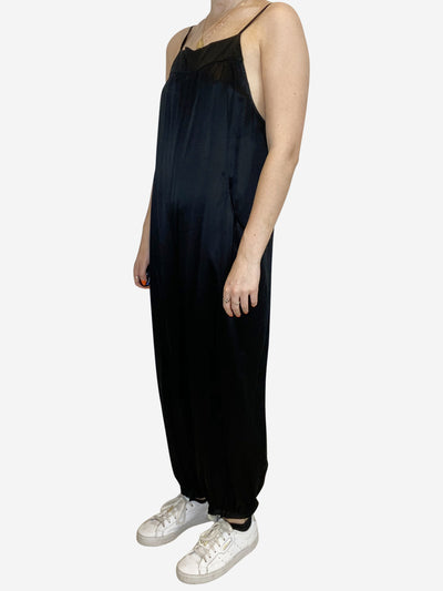 Black sleeveless silky harem jumpsuit - size 10