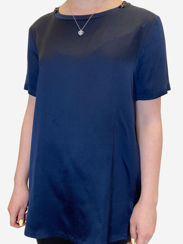 Blue short sleeve embellished collar top - size UK 10