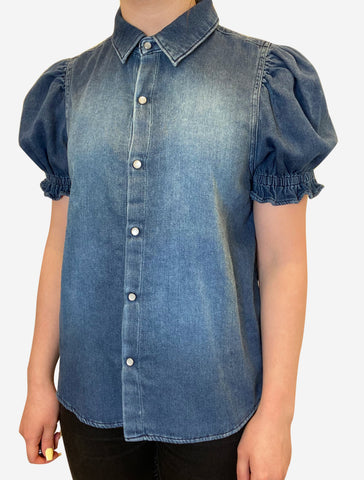 Denim blue puff short sleeve pop button down shirt - size XS