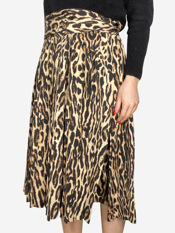 Brown leopard print pleated belted skirt - size UK 14