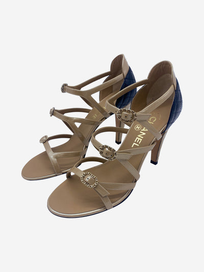 Gold heeled strap sandals - size EU 37.5