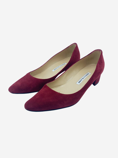 Red suede low block heels - size EU 40